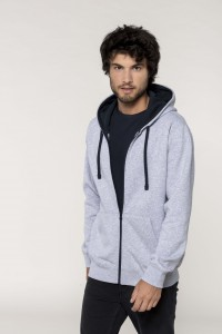 Sweat-shirt-zippé-capuche-contrastée--K466